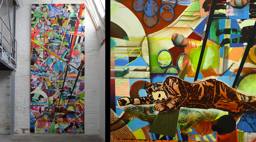 left: 600x250 cm, acrylics, ink and printcolor on canvas – right: detail